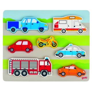 Puzzle/Joc cu masini (2 in 1)