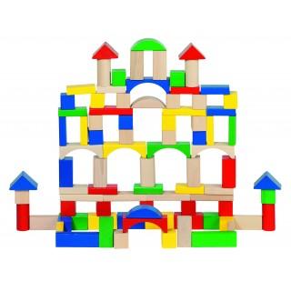 Joc de construit din lemn cu 100 piese in galetusa