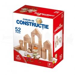 Joc de construit cu 52 piese din lemn