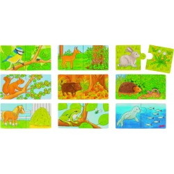 "Puzzle cu 2 piese ""Ce mananca animalutull?"" (set de 9 imagini)"