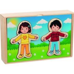 """Puzzle """"Cum ne imbracam azi?"""" in cutie din lemn"""