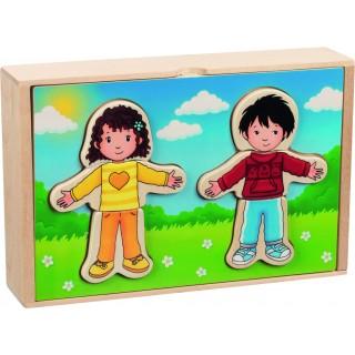 """Puzzle """"Obiecte de imbracaminte"""" in cutie din lemn"""