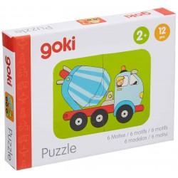 """Puzzle cu 2 piese """"Vehicule/Masini utilitare"""" (set de 6 imagini)"""