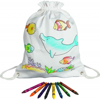 Rucsac din bumbac (include creioane cerate pentru colorat)