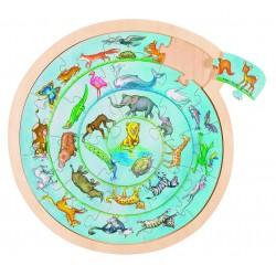 Puzzle rotund Spirala animalelor