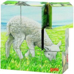 """Cuburi cu puzzle """"Animale de la ferma"""""""