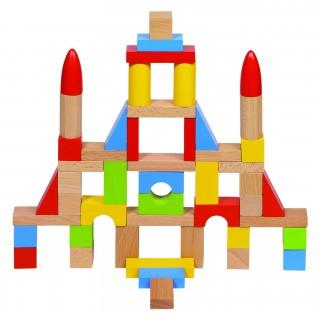 Joc de construit din lemn cu 50 piese