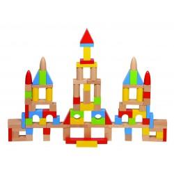 Joc de construit din lemn cu 100 piese in saculet