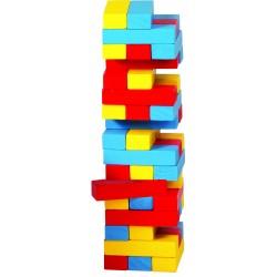Turnul instabil cu piese din lemn colorate