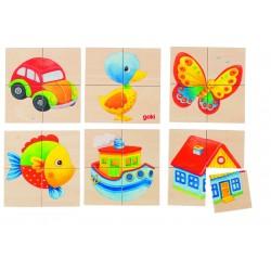 Karemo (Joc de memorie si puzzle din lemn cu 6 imagini diferite)