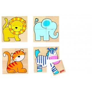 Karemo/puzzle din lemn cu 5 animale salbatice