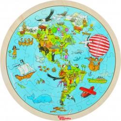 "Puzzle tip harta cu 2 fete ""In jurul lumii"""