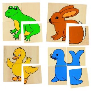 Karemo/puzzle din lemn cu 5 animale diferite