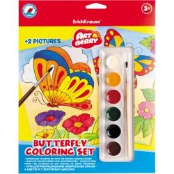 """Set cu acuarele, pensula si doua planse pentru desen """"Fluturi"""""""