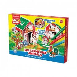 Puzzle 3D Ek Artberry Cu 10 Carioci 6 Figurine Ferma Animalelor
