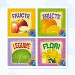 Set cu 4 carti pliante (fructe, citrice, legume si flori)