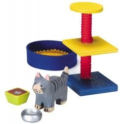 Set cu pisica si accesorii (pentru casutele de papusi)